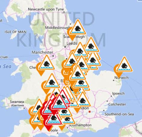 The Environment Agency issued at least six major flood warnings and 44 alerts