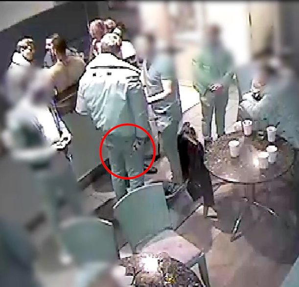 The red ring shows the knife in O'Brien's hand the moment before he slashes Josh's neck