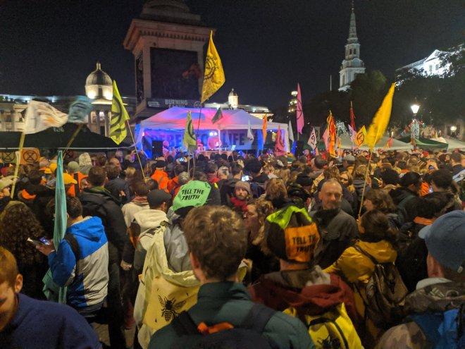 Protesters danced to DJ group Orbital in Trafalgar Square