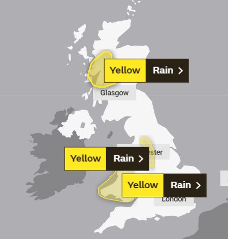 Severe 'yellow' warnings for rain are in place across Wales and parts of Western Scotland as well as Manchester, Leeds and Sheffield