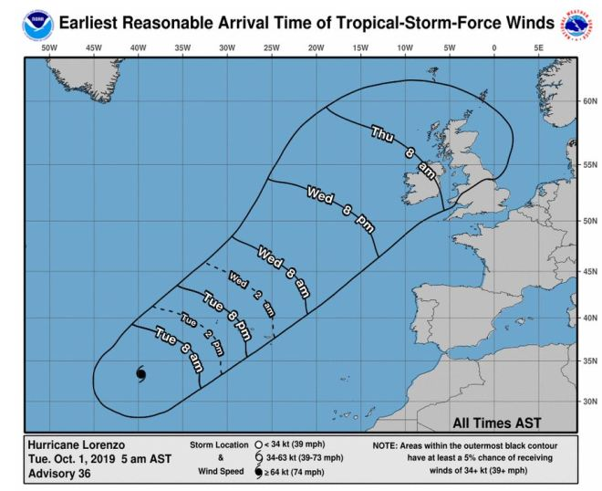 This is the current trajectory for Hurricane Lorezno as the map shows it will hit the UK on Thursday