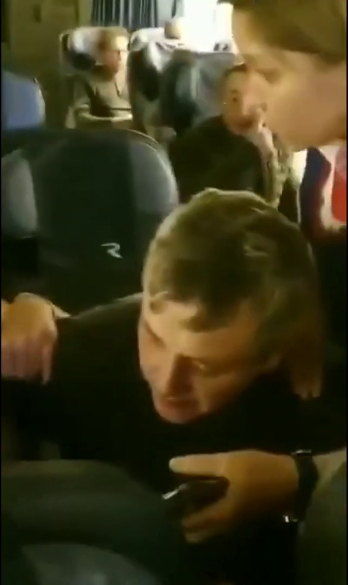 The excruciating moment the stewardess intervenes after complaints from passengers