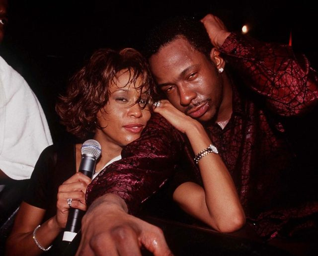 Whitney and Bobby at club opening in Bahamas in 2000