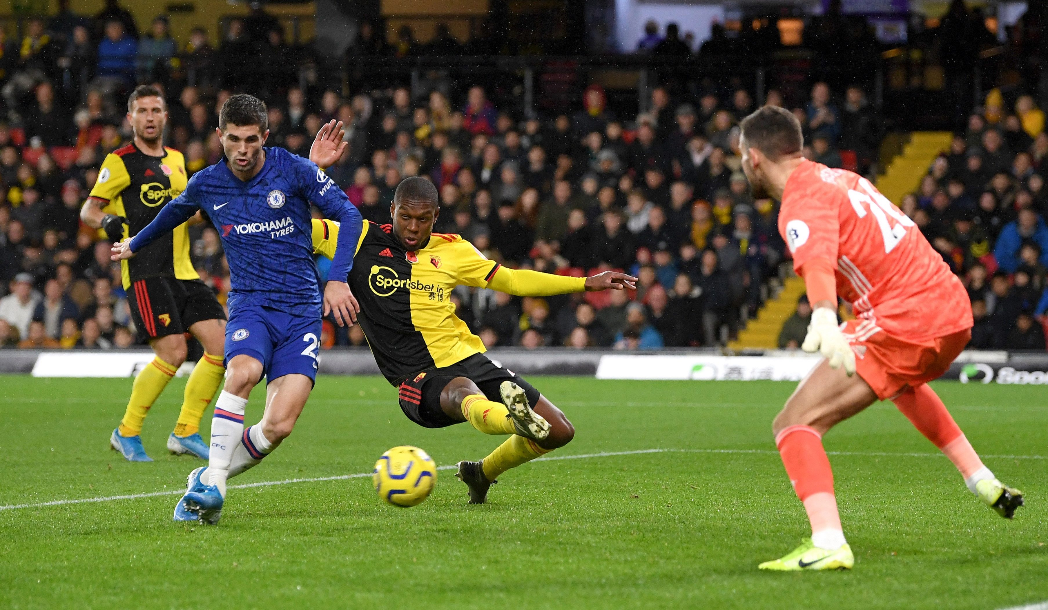 Christian Pulisic stays calm to slot home a Tammy Abraham cross and double the Chelsea lead against Watford