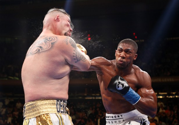 Andy Ruiz Jr was dropped in round three against Anthony Joshua