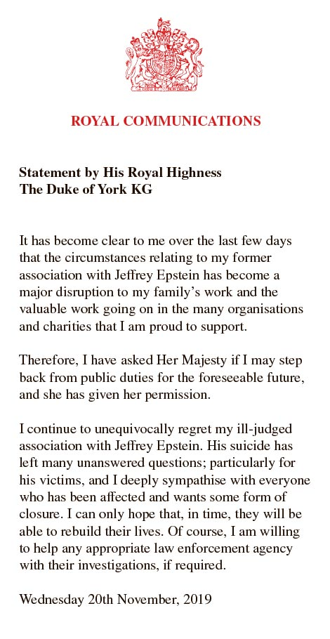 Prince Andrew latest news: Prince Andrew released a statement saying he had stepped back from public duties