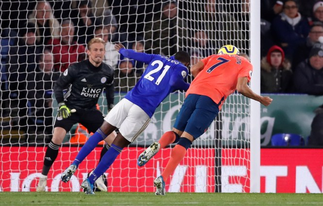 The Brazilian scored his 20th Everton goal as he headed past Kasper Schmeichel on Sunday