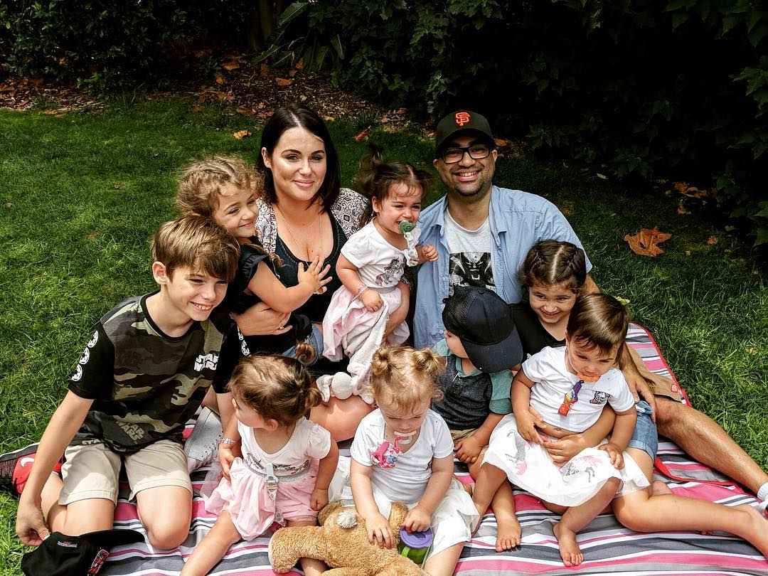Kim and her husband Vaughn and their eight children