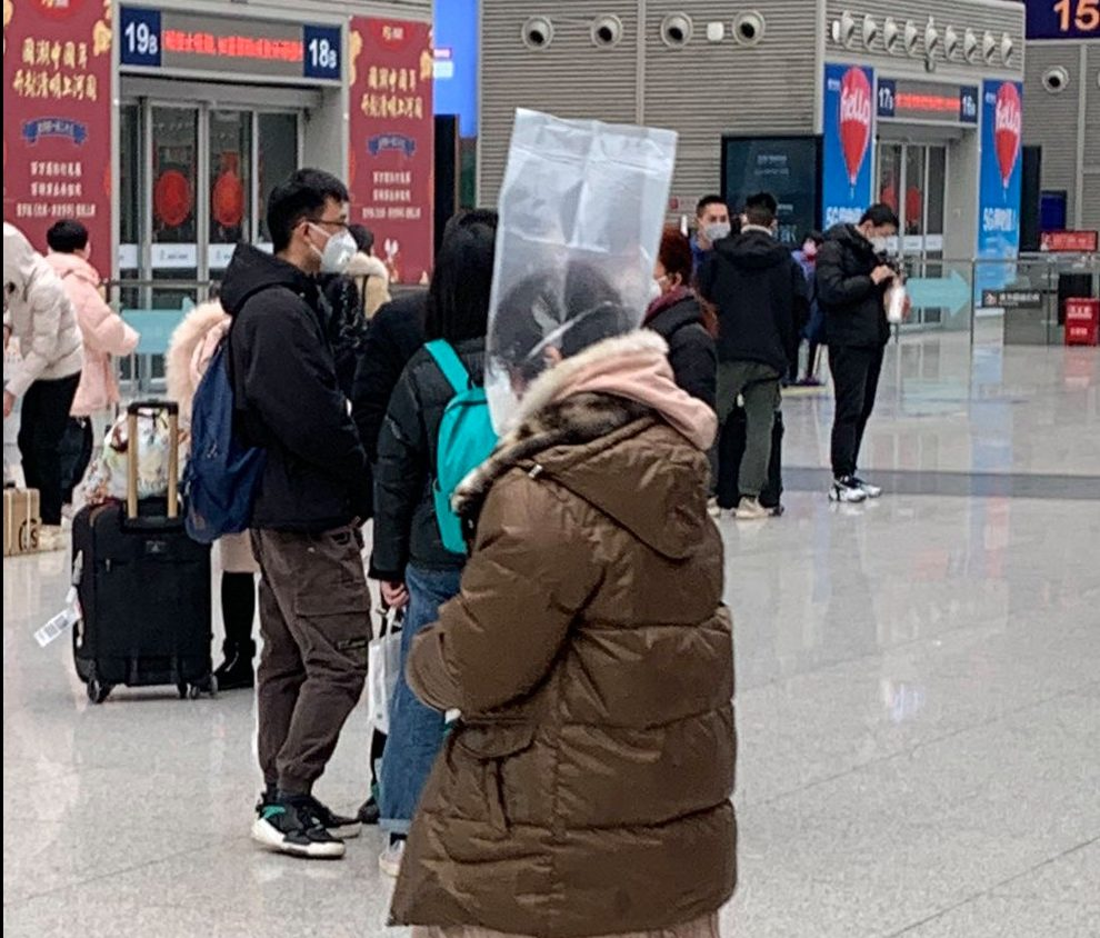 One woman was seen wearing a plastic bag over her head