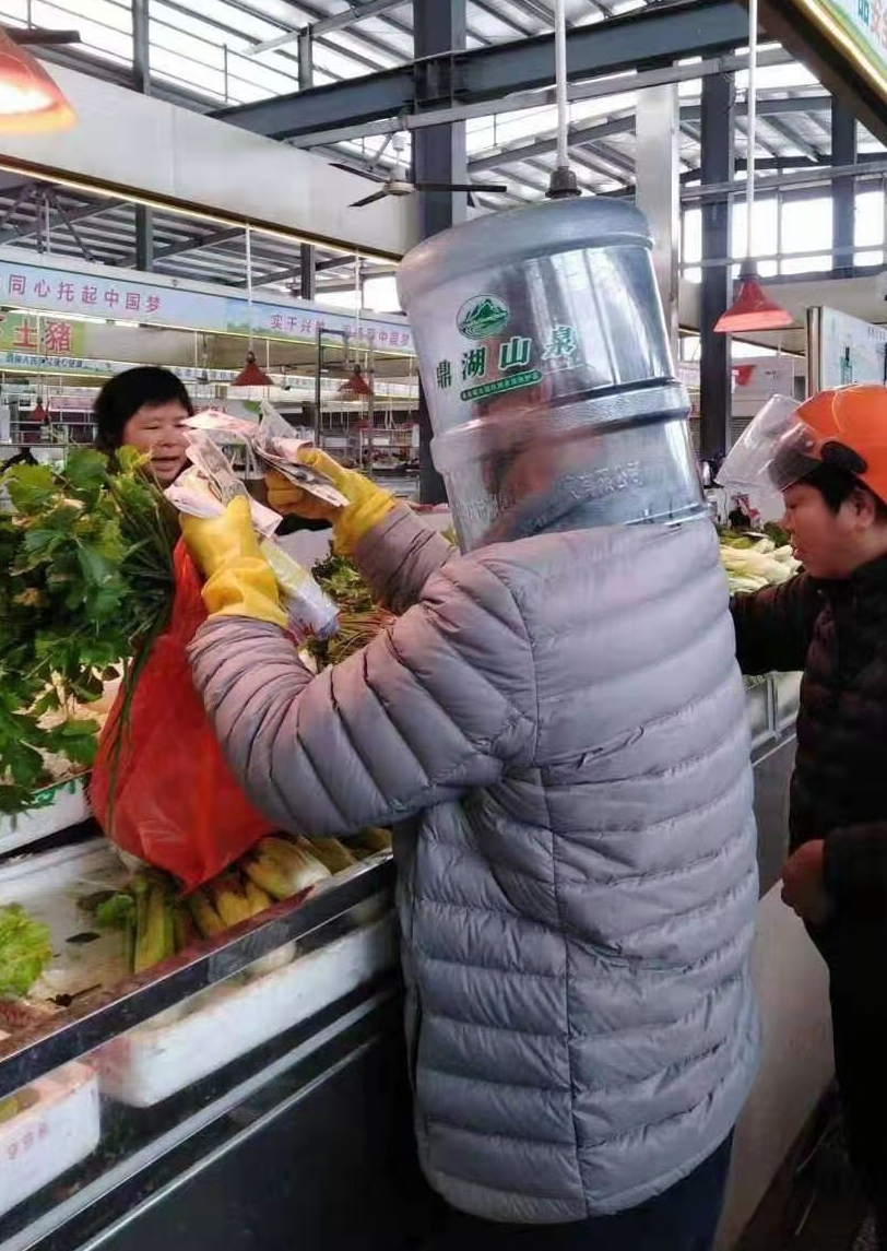 Shoppers were also spotted with different forms of protection