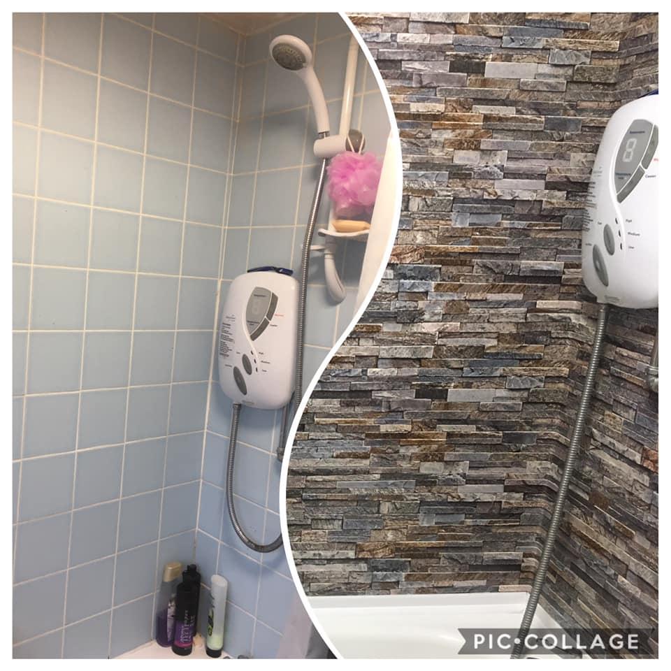 diy fan transforms her dull bathroom