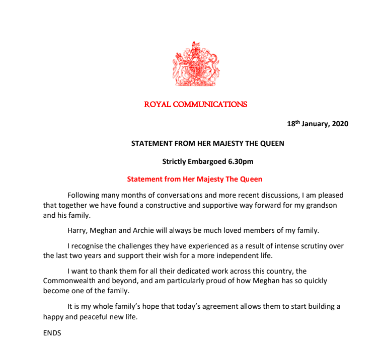 The latest statement on Prince Harry and Meghan Markle's future