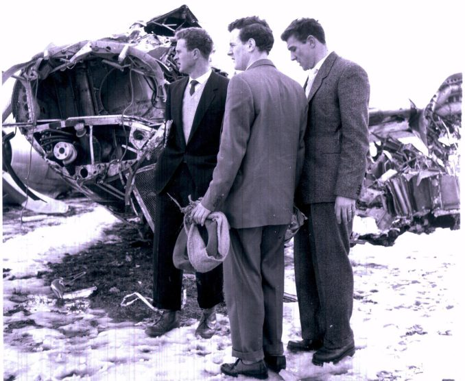 Harry, left, and team-mate Bill Foulkes, right, survey the wreckage in Munich