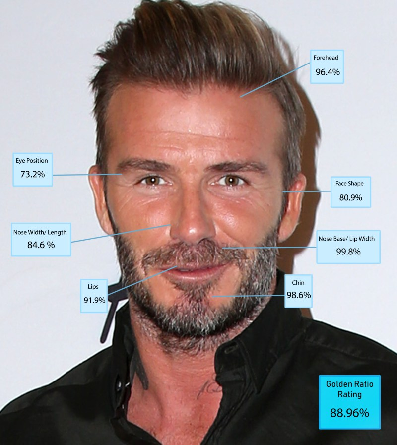 David Beckham was seventh with a score of 88.96 per cent and the most chiselled chin in the top ten