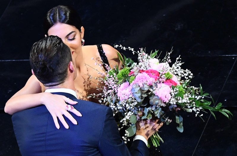 Cristiano Ronaldo congratulated Rodriquez with a kiss and a bouquet of flowers
