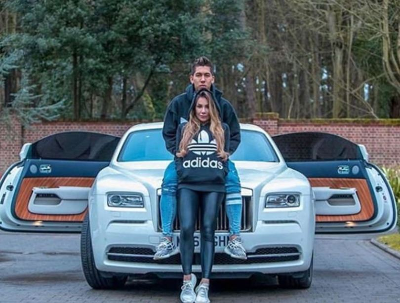 Liverpool ace Roberto Firmino with his £360,000 Rolls Royce Phantom
