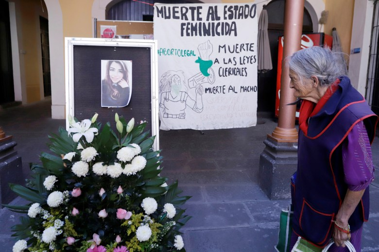 View of an altar placed by students, to demand justice for the femicide of Ingrid Escamilla
