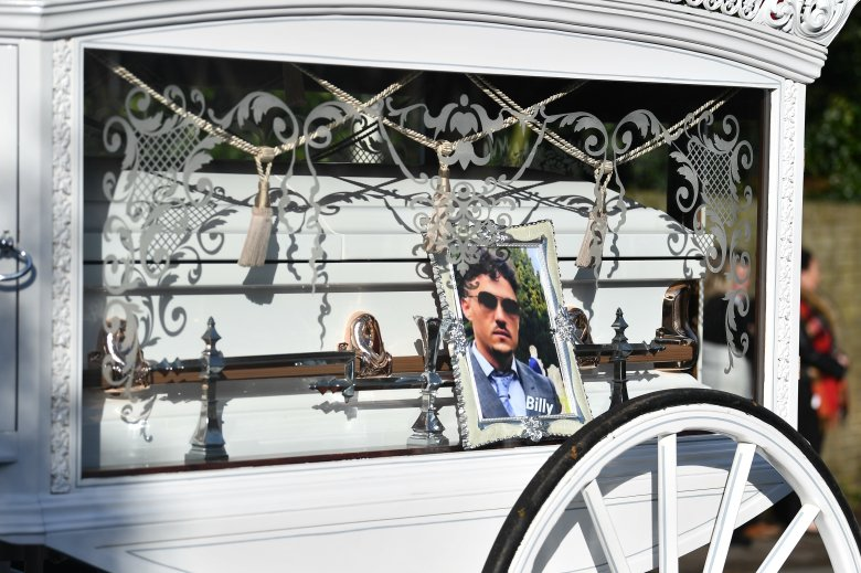 Billy Smith's coffin is driven through Sevenoaks this morning