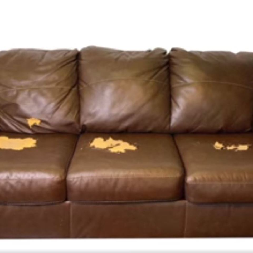 Battered sofa is completely transformed using leather paint in viral video – and people can't believe it's the same one
