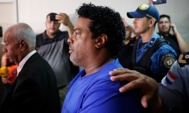 Ronaldinho's brother Roberto was also hauled before the judge, where he faces charges