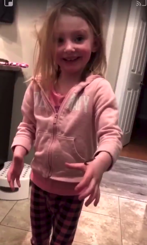 But eventually she gets to see the funny side when her mom reveals it's chocolate pudding.