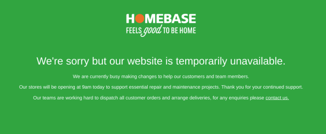 The notice on the Homebase website earlier today