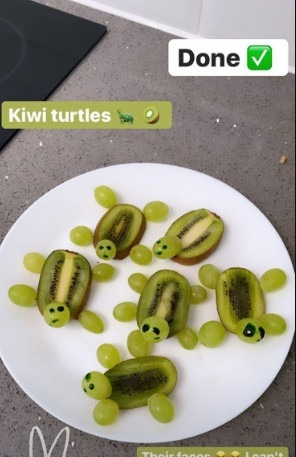 These kiwi and grape turtles also went down well with her kids