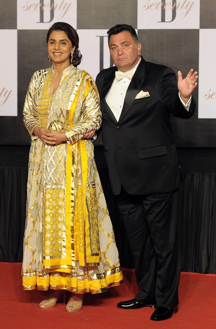 Rishi Kapoor, pictured with his wife Neetu Kapoor, died yesterday in Mumbai
