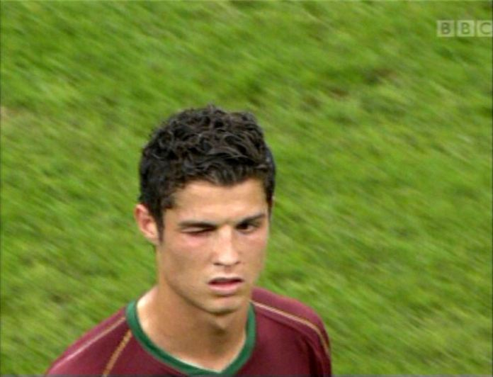 Television cameras caught Ronaldo's wink after asking for the red card to be shown