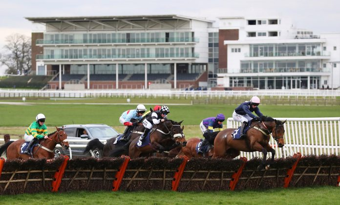 Empty stands are seen at Wetherby Racecourse on March 17 due to the Covid-19 crisis