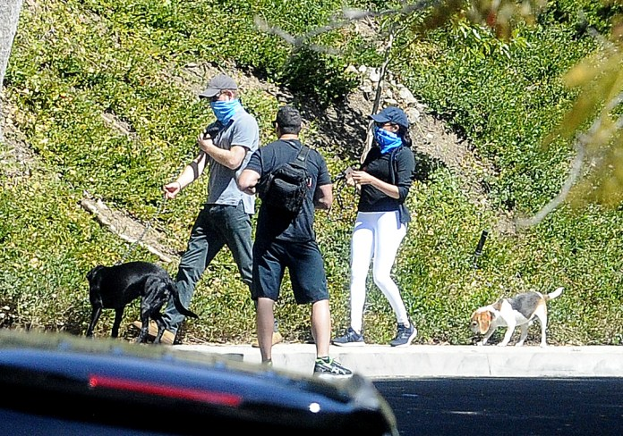 Prince Harry and Meghan Markle wore bandanas to protect against coronavirus as they took their dogs out for a lockdown stroll
