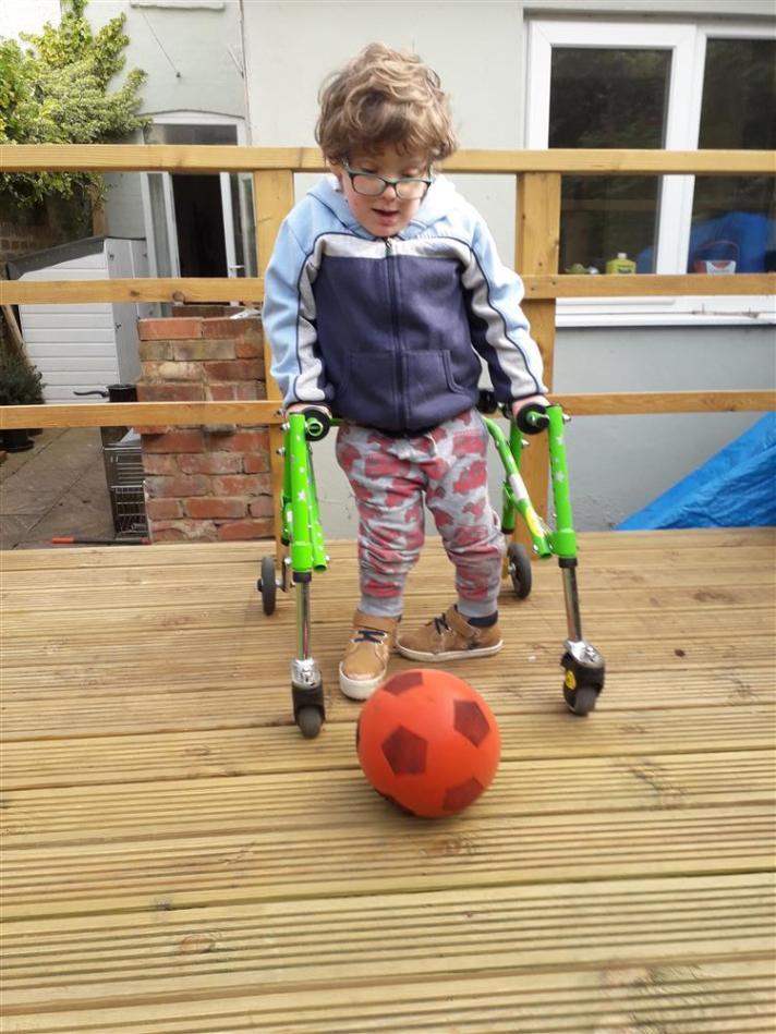 Frank Mills, 6, struggles to walk short distances