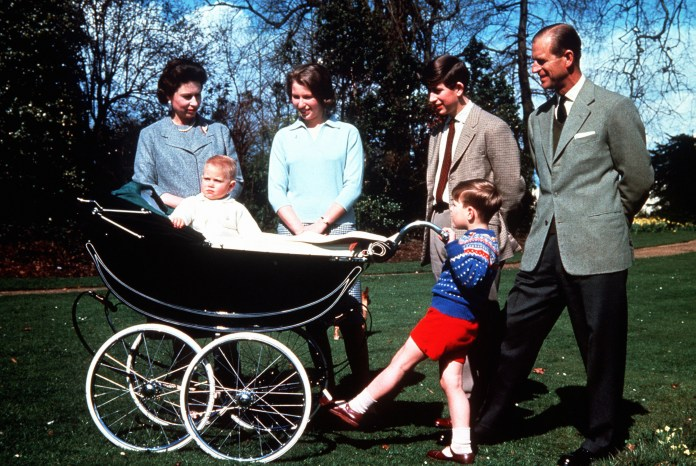 The Queen with the Duke of Edinburgh and their children, from left to right, the baby Prince Edward, Princess Anne, Prince Andrew and Prince Charles, for his 39th birthday