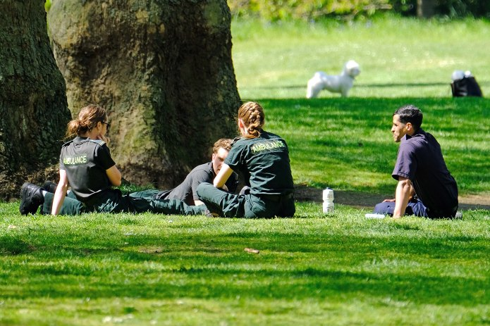 Ambulance staff saw a well-deserved break at Hyde Park yesterday