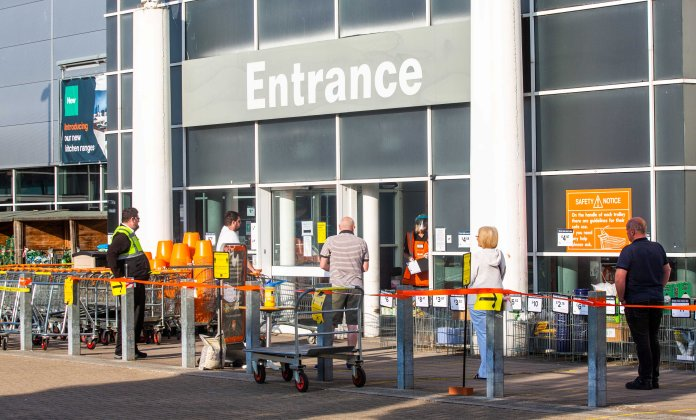 People lining up to enter B&Q in Plymouth - making vital repairs was deemed to be correct under the rules