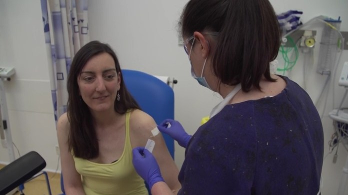 Microbiologist Elisa Granato, 32, receives injection from UK human trials for coronavirus vaccine as Oxford University coronavirus vaccine trial begins
