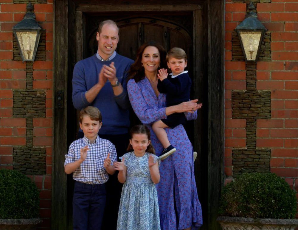 Prince William, his wife Kate Middleton, and their children George, Charlotte and Louis lead the nation's Clap For Carers