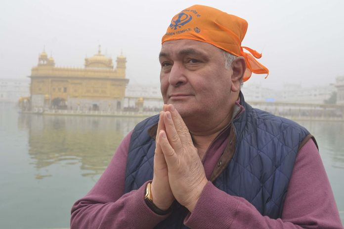 Bollywood Indian actor Rishi Kapoor pays tribute to Amritsar Sikh Golden Temple in 2016