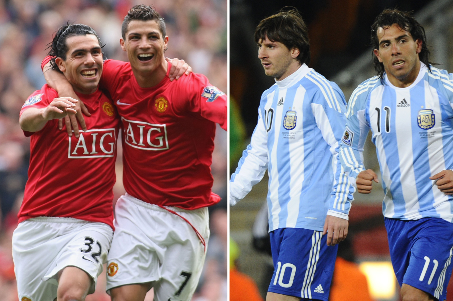 Carlos Tevez has partnered both forwards up front during his career