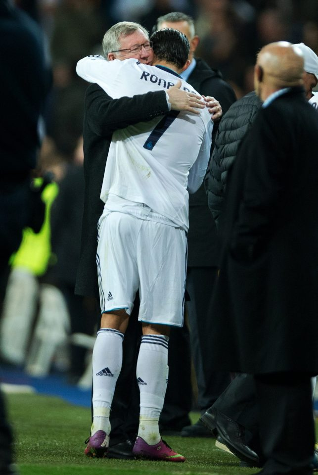 Ronaldo and Ferguson embrace at the end of a Champions League match between Man Utd and Real Madrid in 2013