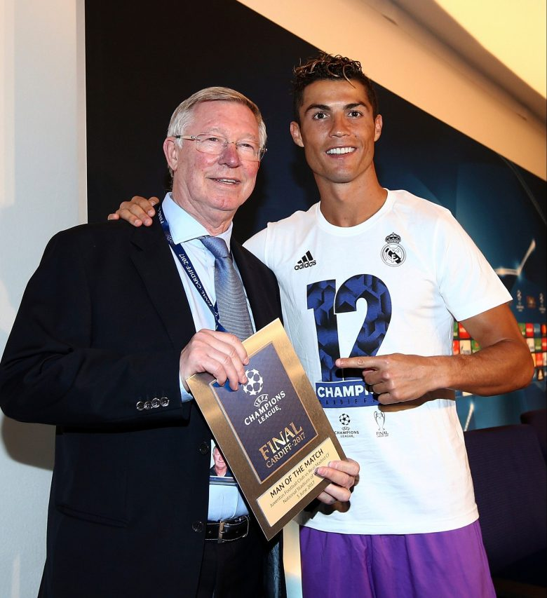 Ronaldo is given his man of the match award by Sir Alex after the Champions League final in 2017