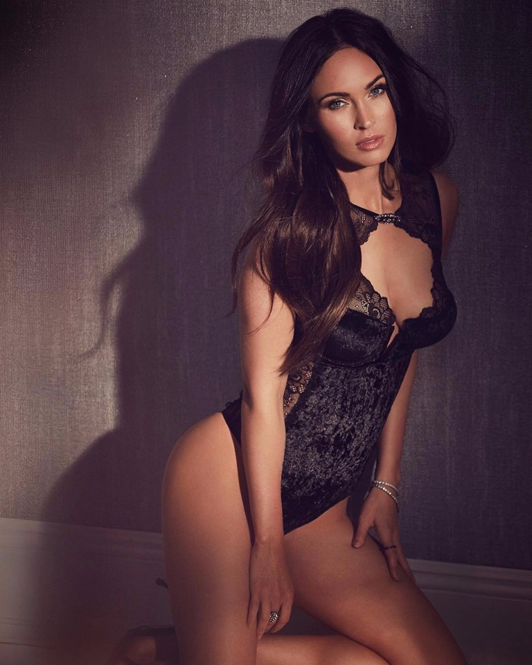 The stunning actress shows off her enviable figure in lacy black lingerie