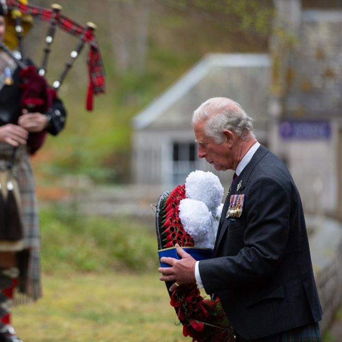 The Prince of Wales lays a wreath at the memorial near Balmoral