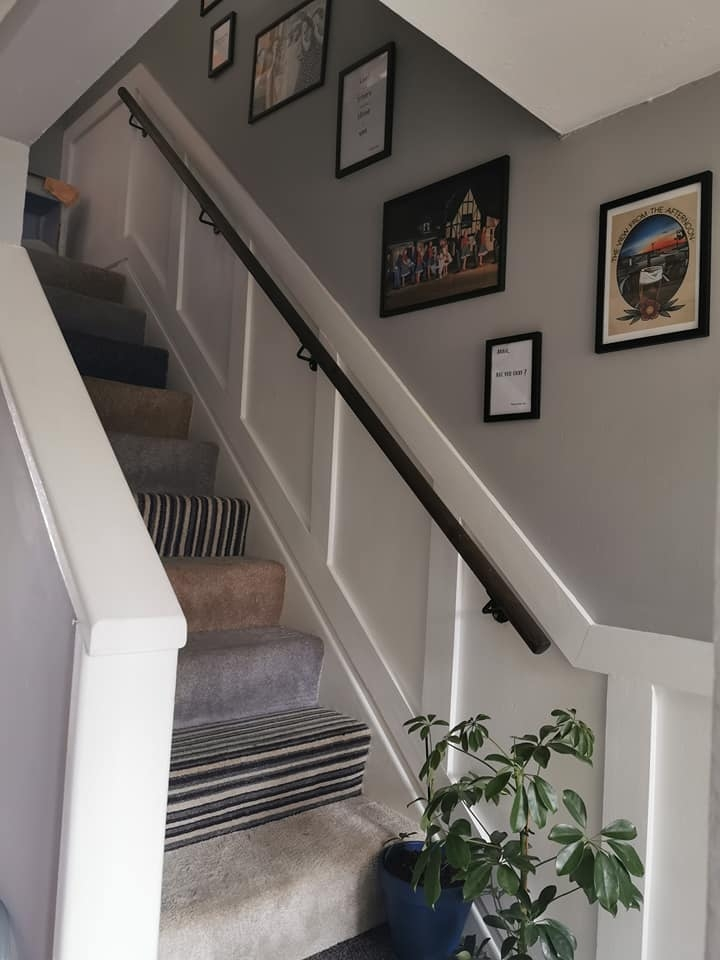 Woman Transforms Her Drab Staircase With Stylish Wood Panelling | Stairs Made Of Wood | Pine | Staircase | Wood Plank | Hanging | Custom Made