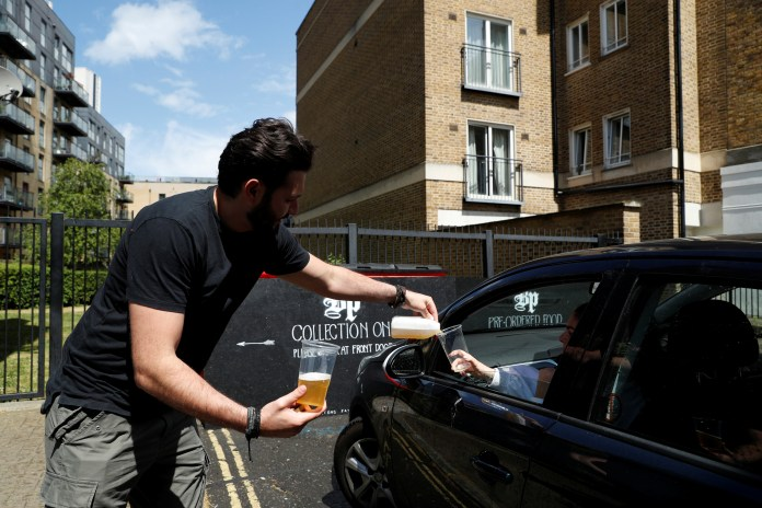 The Black Prince Pub in Kennington serving pints in a drive-through