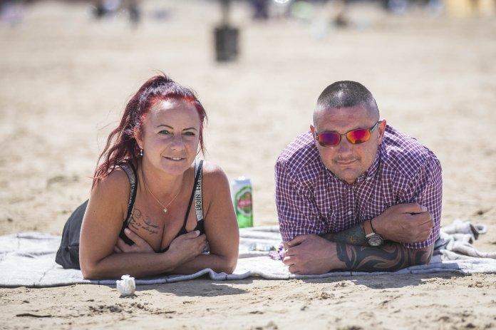 Daria Markiton and Tony Cyphus on the beach in Weston Super-Mare today