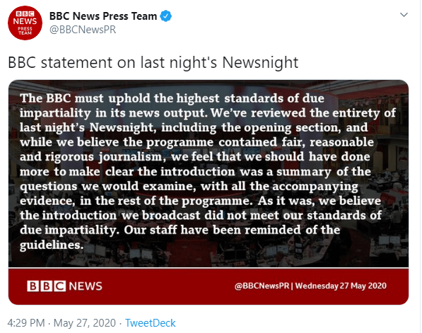 The BBC posted a tweet dmitting Emily Maitlis's intro didn't meet the impartiality standards