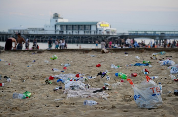 Plastic bags were scattered on Bournemouth Beach last night