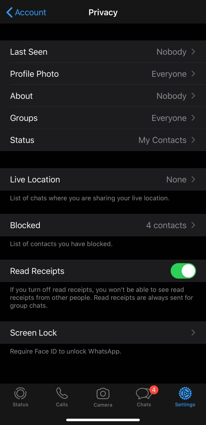 Make sure you set Last Seen to 'Nobody', and try turning off Read Receipts if you're really cautious