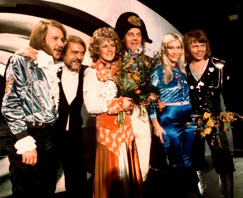 The band pictured together in 1974 after winning Eurovision in Brighton